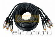 Шнур 3RCA Plug - 3RCA Plug 1.5М (GOLD) - металл REXANT
