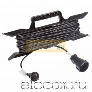 Удлинитель на рамке 10м (1 роз.) 2х0.75 черный REXANT (Сделано в РОССИИ)