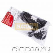 Удлинитель шнур 10м (1 роз.) 3х0.75 с заземлением черный REXANT (Сделано в РОССИИ)