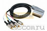 Шнур SCART Plug - 4RCA Plug 3 М (GOLD) металл REXANT