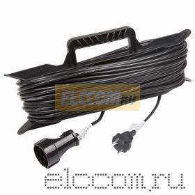 Удлинитель на рамке 50м (1 роз.) 2х0.75 черный REXANT (Сделано в РОССИИ)