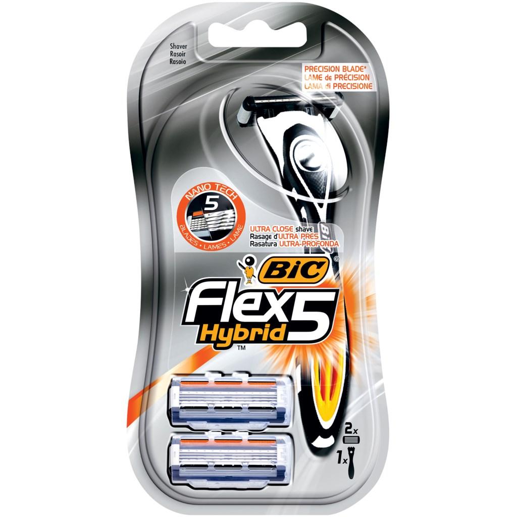 Bic Flex 5 Hybrid сменные кассеты (2 шт) + бритва, промо-набор
