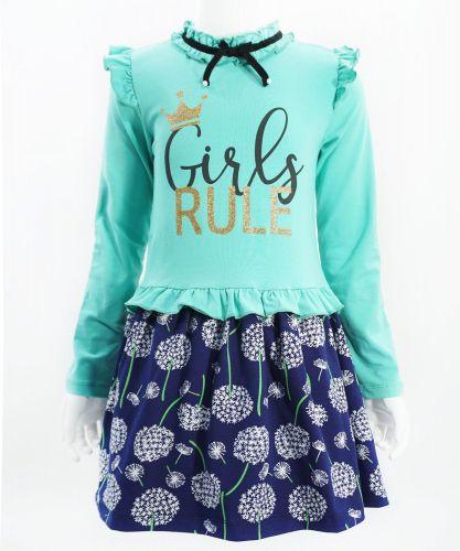 """Платье для девочек Bonito """"Girls Rule"""" аквамарин"""