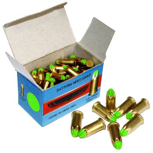 Патрон монтажный для строительных пистолетов тип Д1 калибр 6,8х18 зеленый, упаковка 100 штук