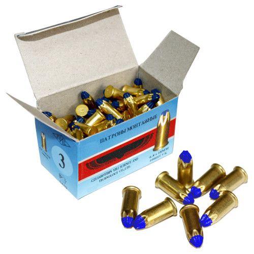 Патрон монтажный для строительных пистолетов тип Д3 калибр 6,8х18 синий, упаковка 100 штук