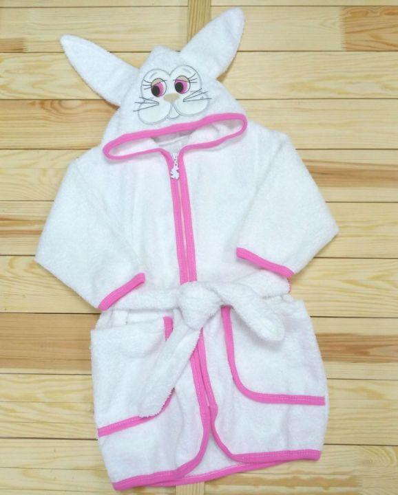 Халат банный с капюшоном V-XA033(k)-MA (махра белый с розовым)