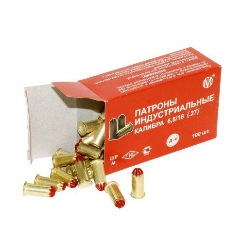 Патрон монтажный для строительных пистолетов тип Д4 калибр 6,8х18 красный (МПЗ), упаковка 100 штук