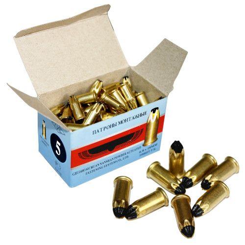 Патрон монтажный для строительных пистолетов тип Д5 калибр 6,8х18 черный, упаковка 100 штук