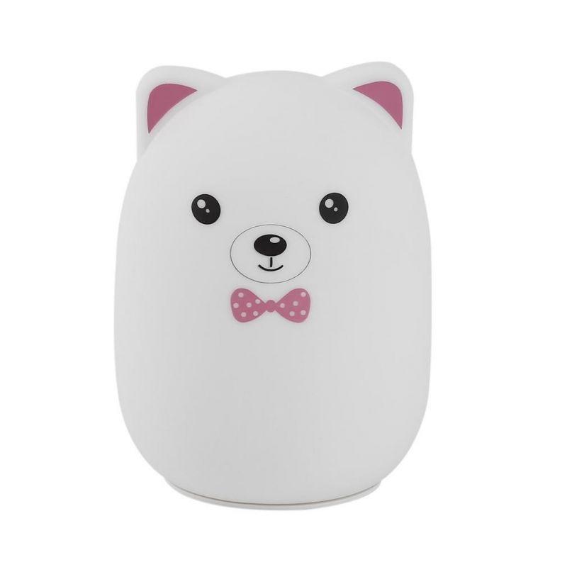 Мягкий Силиконовый Ночник Colorful Silicone Lamp, Розовый Мишка с бабочкой