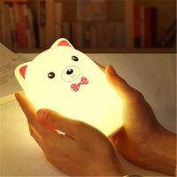 Мягкий Силиконовый Ночник Colorful Silicone Lamp, Розовый Мишка с бабочкой_4