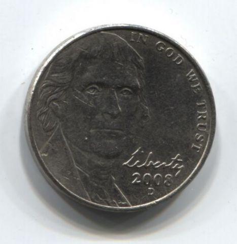 5 центов 2008 года D США