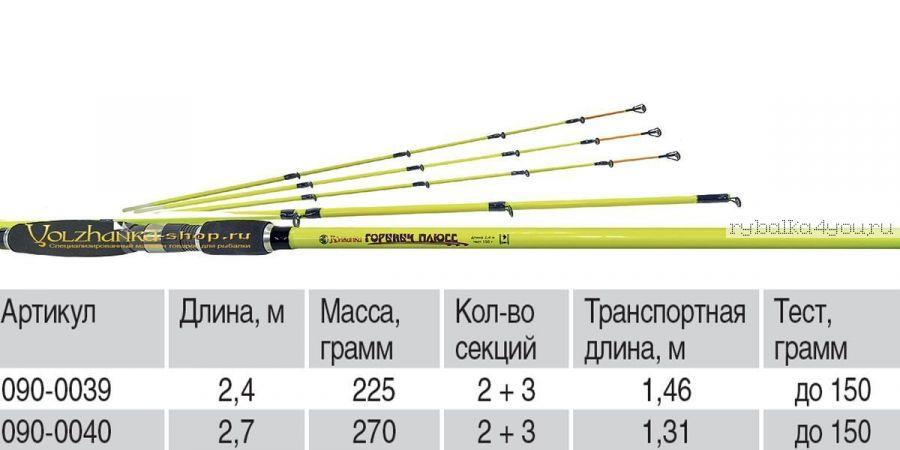 Удилище универсальное Волжанка Горыныч Плюсс  2,4м тест до 150гр (2 секции+3)
