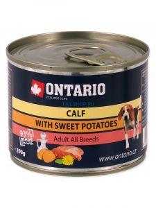 Ontario Консервы для собак: телятина и батат 200 гр.