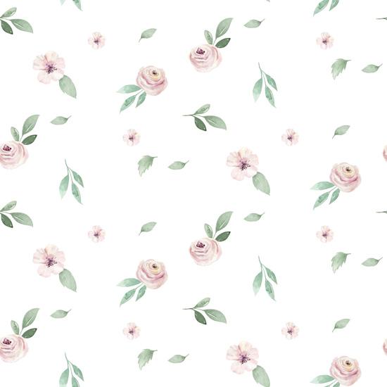 Хлопок Сатин Цветы на белом