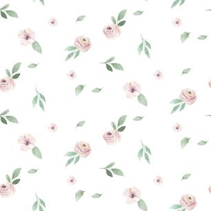 Хлопок Сатин Цветы на белом 50х40
