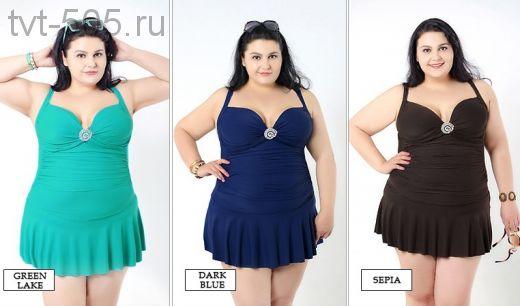 Купальник-платье 5129 слитный шоколад, бирюза большой размер 52-58