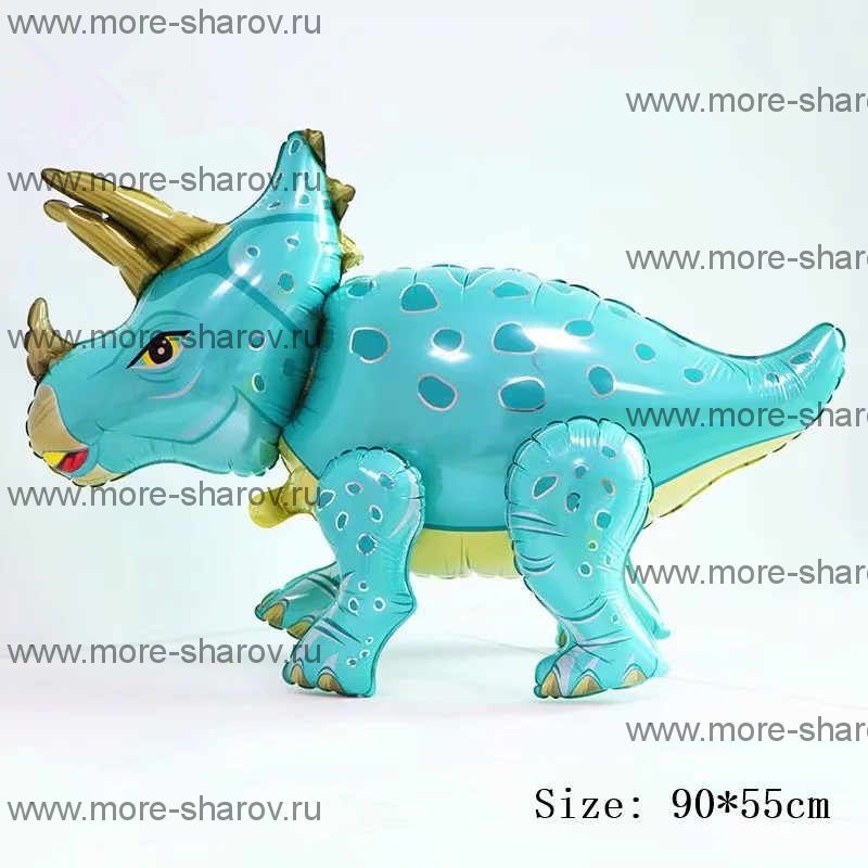 Шар Динозавр Трицератопс 91 см Бирюзовый