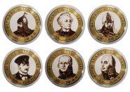 Набор монет 6 ШТУК, 10 РУБЛЕЙ 2013 ГОДА - ВЕЛИКИЕ ПОЛКОВОДЦЫ, ЦВЕТНАЯ ЭМАЛЬ + ГРАВИРОВКА