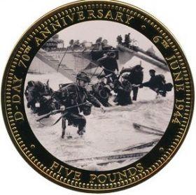 Высадка в Нормандиию 70 лет  D-Day  5 фунтов Тристан-да-Кунья 2014