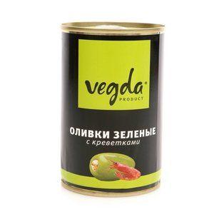 Оливки Вегда зеленые с креветками ж/б 300мл.