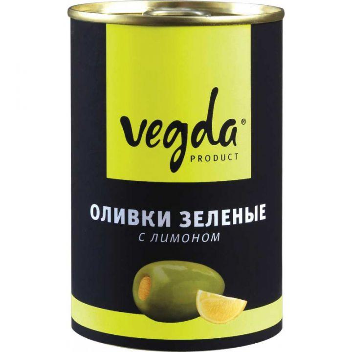 Оливки Вегда зеленые с лимоном ж/б 300мл.