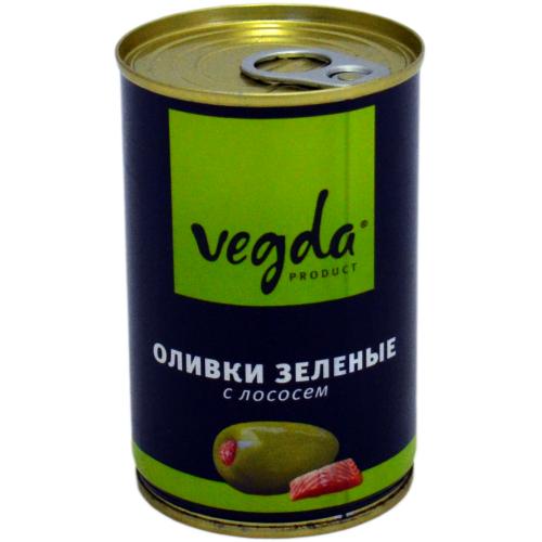 Оливки Вегда зеленые с лососем ж/б 300мл.