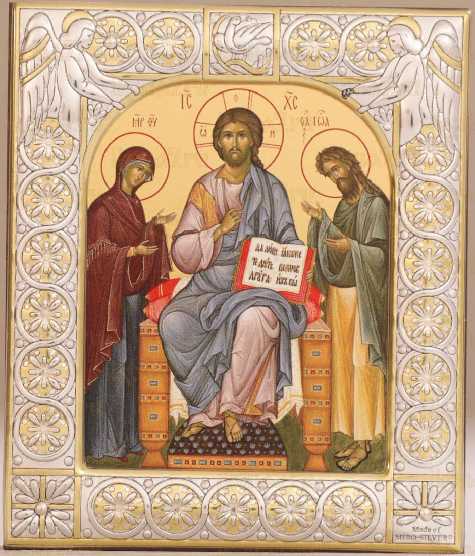 Деисус икона Спас на престоле с предстоящими (9х10,5см)