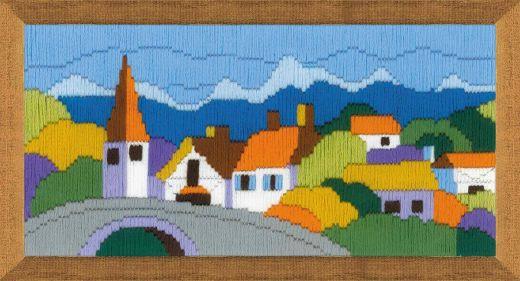 Набор для вышивания крестом Городок в горах 1630 фирма Риолис