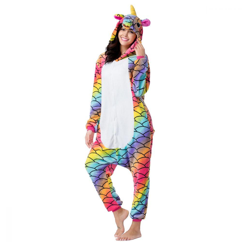 Пижама Кигуруми Единорог Радужный Мраморный