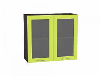 Шкаф верхний Валерия В800 со стеклом (лайм глянец)