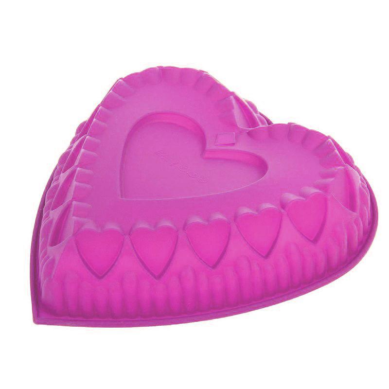 Силиконовая форма для выпечки Сердце (цвет розовый)