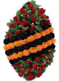 Ритуальный венок на возложение #2 Георгиевская лента из гвоздик и роз
