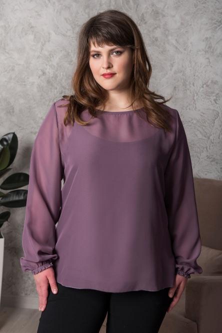 Комплект (блуза и топ) арт.0156-32 оберджин, шифон+вискоза