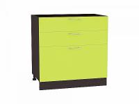 Шкаф нижний с 3-мя ящиками Валерия Н803 в цвете лайм глянец