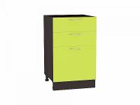 Шкаф нижний с 3-мя ящиками Валерия Н503 в цвете лайм глянец