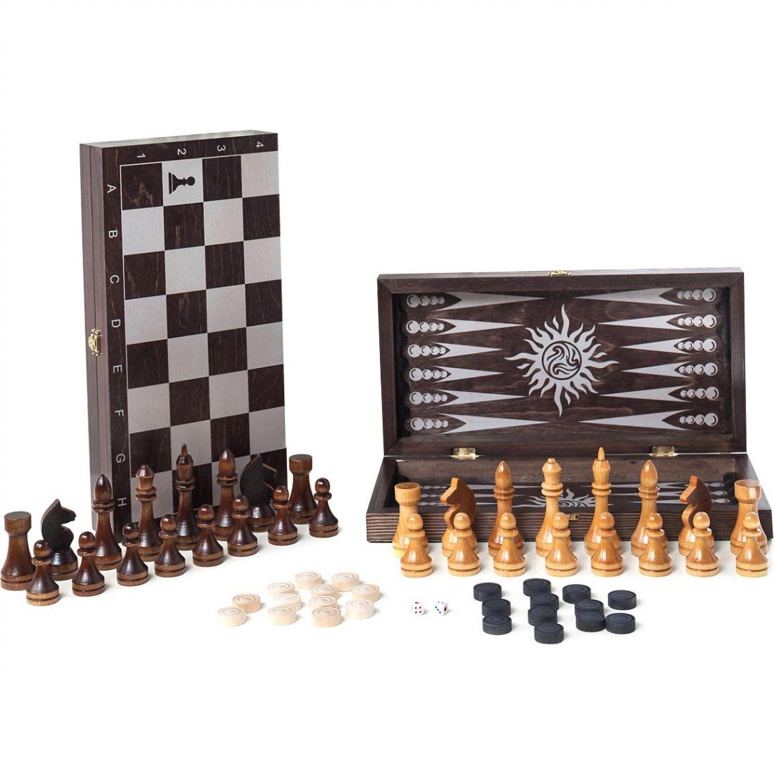 Набор 3 в 1 деревянный Классика 297-18 (шахматы, шашки, нарды) 40х40см