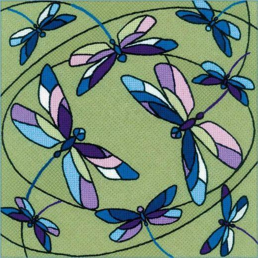 Набор для вышивания крестом Подушка/панно Витраж. Стрекозы №1625 фирма Риолис