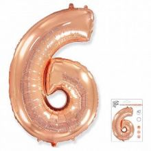 """Фигура """"6""""  (40""""/102 см) розовое золото, в упаковке"""