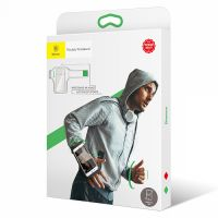 "Чехол спортивный на руку Baseus Flexible Wristband (CWYD-A06) для смартфонов 5"" (Black/Green) фото3"