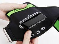 "Чехол спортивный на руку Baseus Flexible Wristband (CWYD-A06) для смартфонов 5"" (Black/Green) фото4"