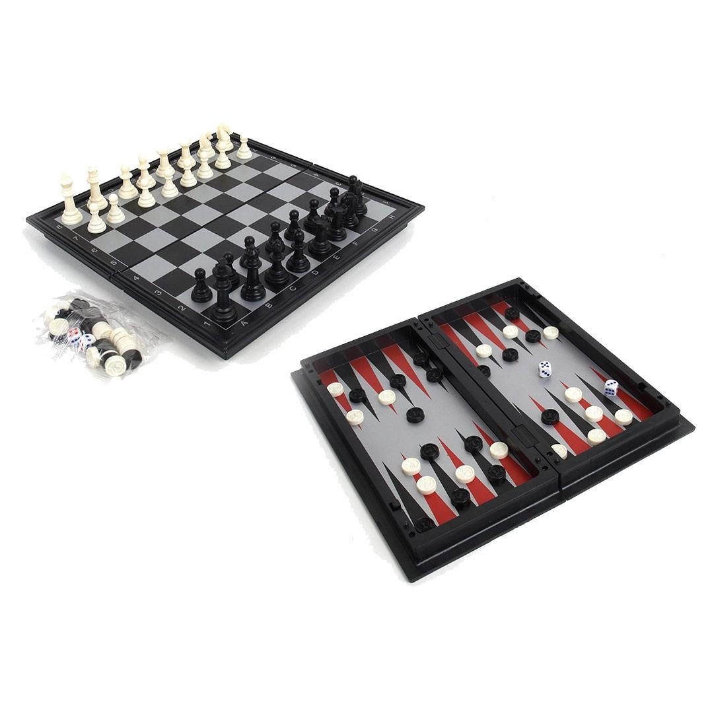 Набор 3 в 1 магнитный 3146 (нарды, шахматы, шашки) 24x24см