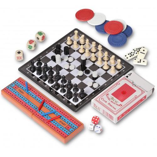 Набор 7 в 1 магн. (шахматы, шашки, нарды, покер, карты, домино, криббедж)