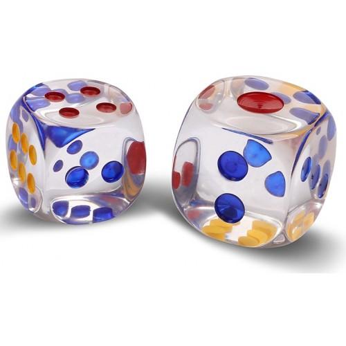 Кости (кубики, зары) пластиковые 16441 прозрачные 2,7см