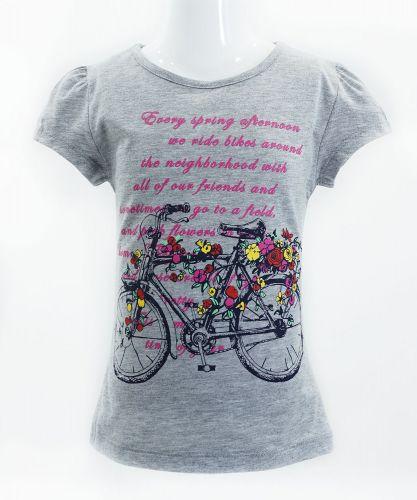 "Футболка для девочек Bonito kids ""bicycle"" 4-8 лет серый-меланж"