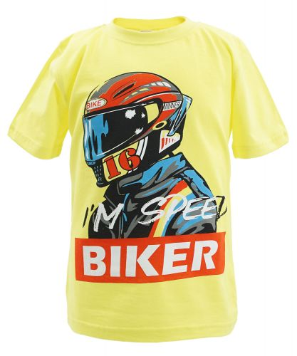 "Футболка для мальчика Bonito kids ""Speed Biker"" 4-8 лет желтая"