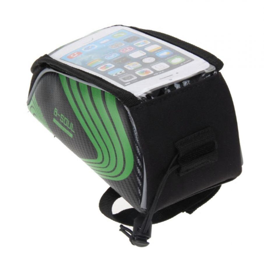 Велосипедная сумка на раму под смартфон B-Soul, 21х9,5х9,5 см, цвет Зеленый