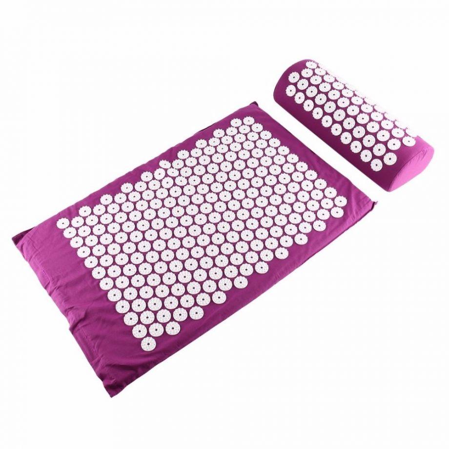 Акупунктурный массажный комплект из коврика и валика Acupressure Mat, цвет Фуксия