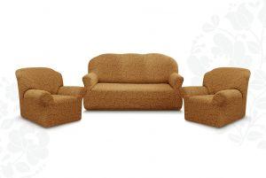 """Комплект чехлов """"Престиж"""" из 3х предметов (трехместный диван и 2 кресла)без оборки,10029 кофе с молоком"""