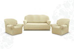 """Комплект чехлов """"Престиж"""" из 3х предметов (трехместный диван и 2 кресла)без оборки,10054 ваниль"""
