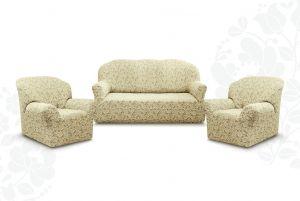 """Комплект чехлов """"Престиж"""" из 3х предметов (трехместный диван и 2 кресла)без оборки,10096 ваниль"""